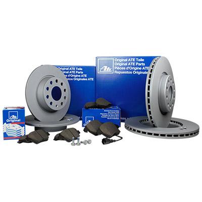 ate bremsen kit set komplett 4 bremsscheiben 8 bremsbel ge vorne hinten ebay. Black Bedroom Furniture Sets. Home Design Ideas